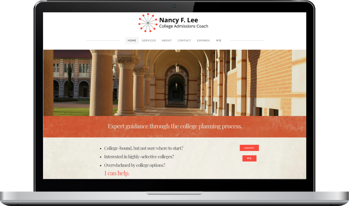Nicolette A. Munoz Consulting - Nancy F. Lee College Admissions Coach Website Design